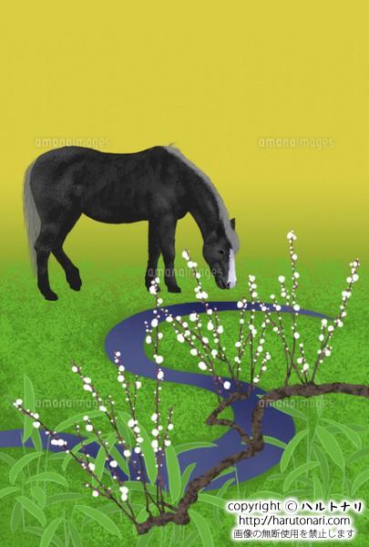 日本庭園の馬と白梅