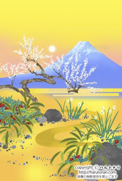 白梅と富士と初日の出