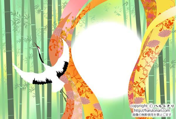 竹林と和柄