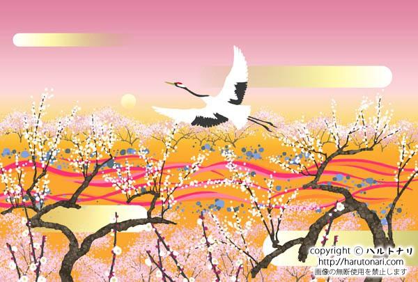朝靄にかすむ白梅に鶴