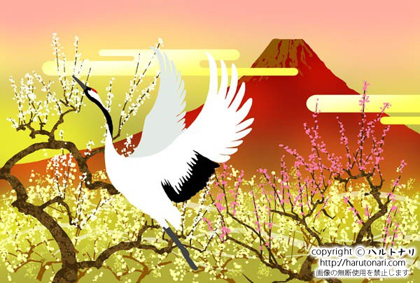 赤富士に鶴と白梅