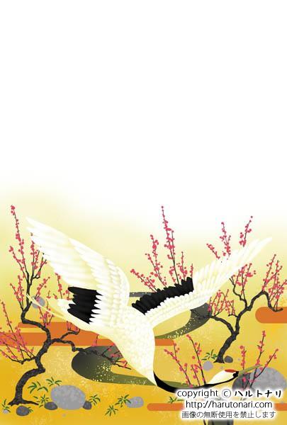朽木雲に紅梅と鶴
