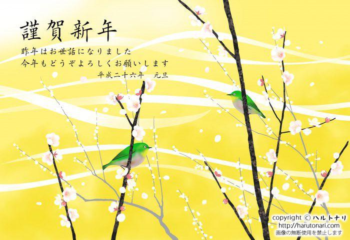 黄色地に白梅とメジロ