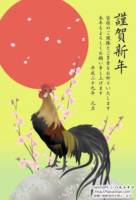 日の出と尾長鶏