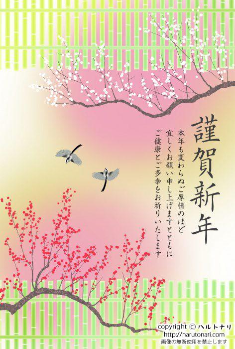 竹垣と梅とエナガ