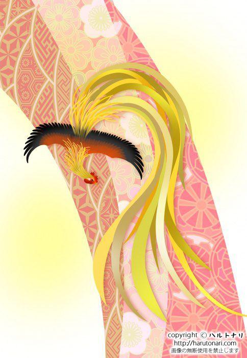 和柄に尾長鶏