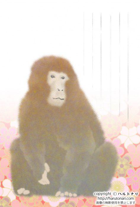 梅文様に猿