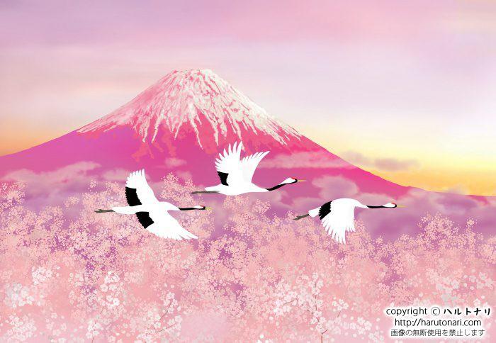 赤富士と丹頂
